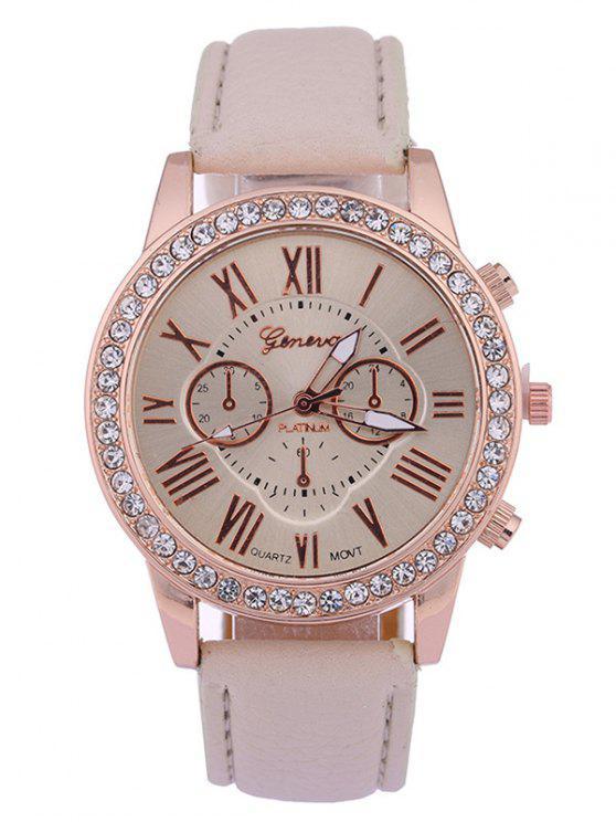 womens Numerals PU Leather Rhinestone Studded Quartz Watch - BEIGE