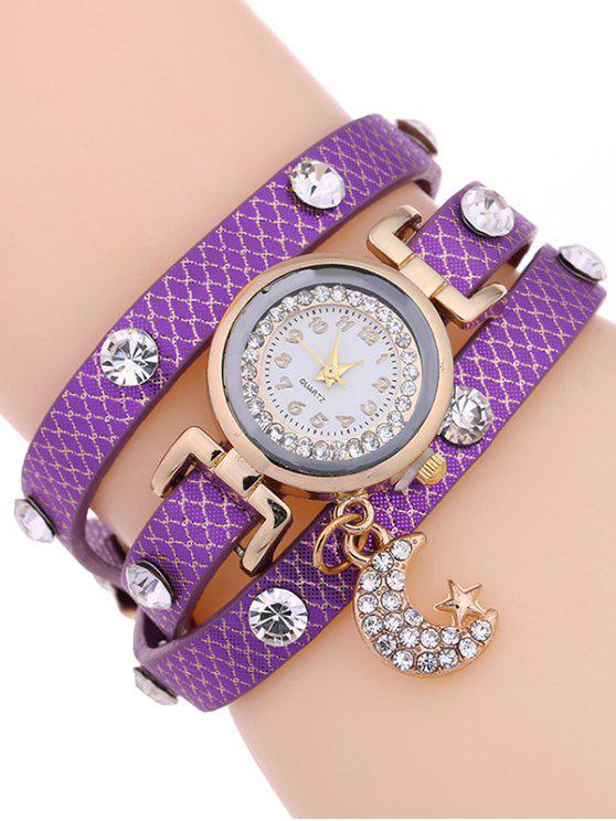 trendy Rhinestone Moon Layered Watch - PURPLE