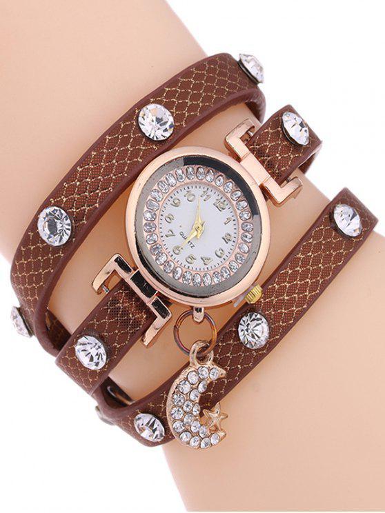 Montre bracelet lune de strass - Brun Doré