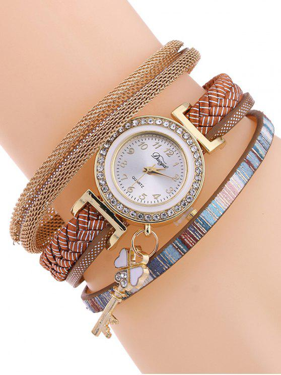 fancy Clover Key Layered Watch - GOLD BROWN