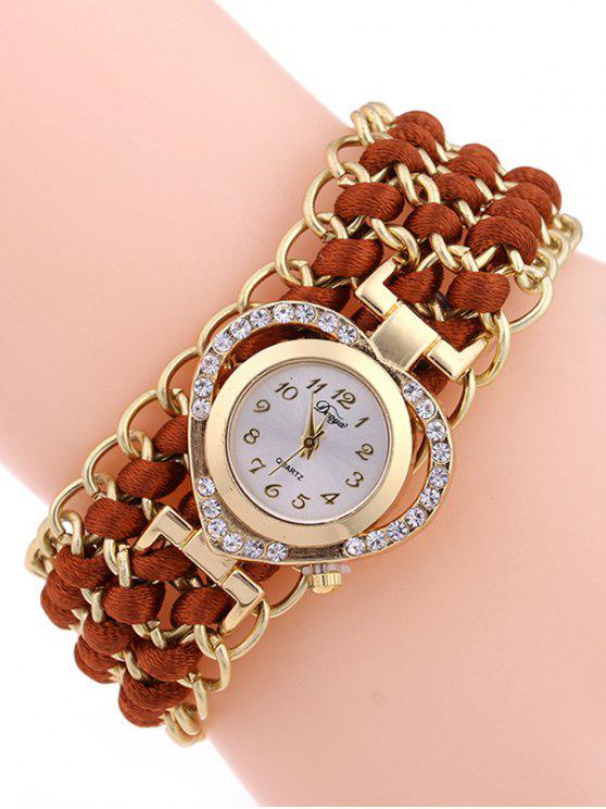 sale Rhinestone Heart Watch - RED BROWN