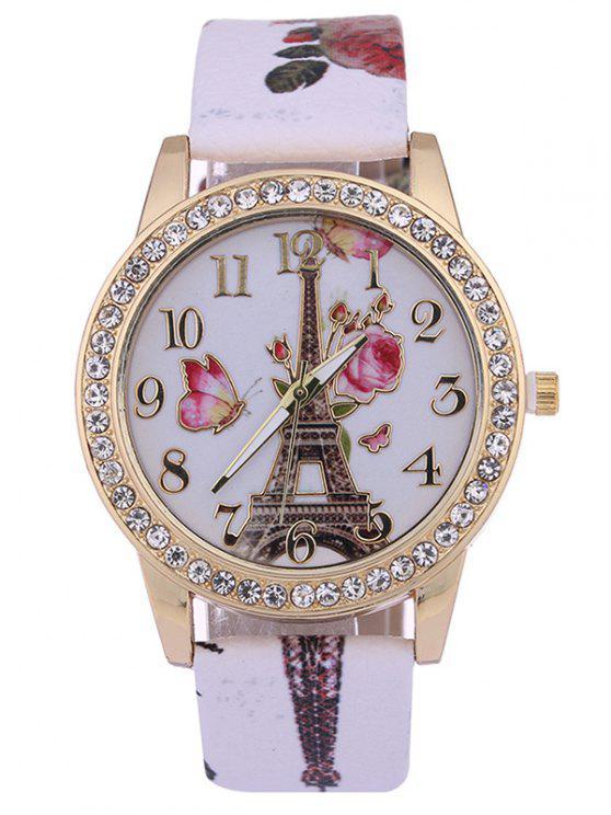 Torre de Rosa Estampado PU de Cuero Tachonado de Diamante de Reloj - Blanco