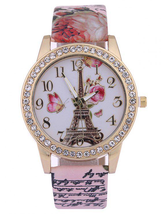 Torre de Rosa Estampado PU de Cuero Tachonado de Diamante de Reloj - Rosa