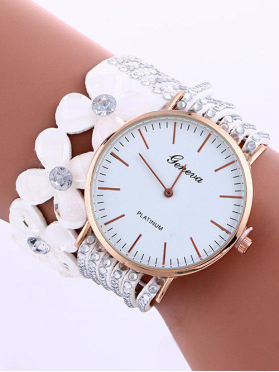 Capa Flor Diamante de Tachonado de PU de Cuero de Reloj - Blanco