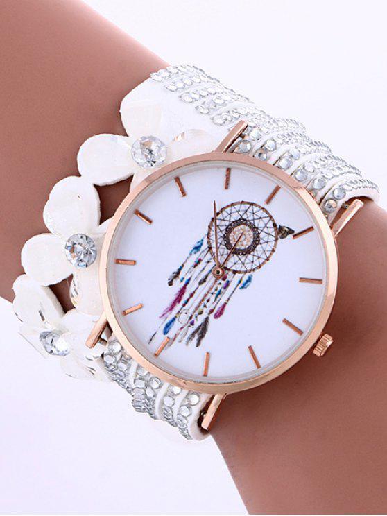 womens Feather Mesh Layered Flower Rhinestone Studded PU Leather Watch - WHITE