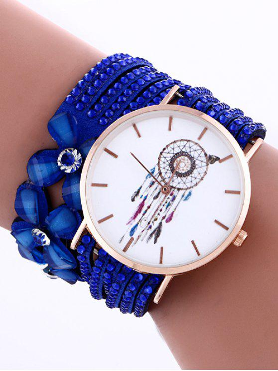 Pluma Malla Capa Flor Tachonado de Diamante de Cuero de PU de Reloj - Azul Zafiro