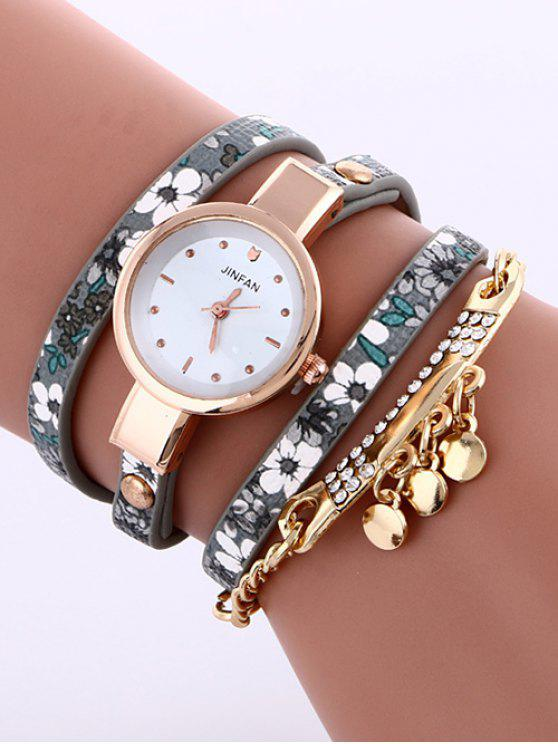 shops Floral Printed Layered Rhinestone Studded PU Leather Watch - GRAY
