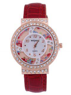 PU Leather Colorful Beads Rhinestone Studded Watch - Red