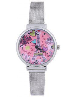 Steel Band Colorful Love Tower Quartz Watch - Pink