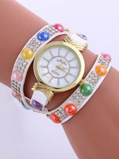 Beads Rhinestone Layered Watch - White