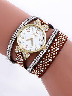 Layered Rhinestone Watch - Red Brown