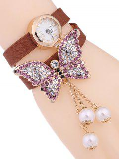 Layered Butterfly Watch - Antique Brown