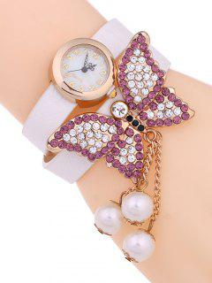 Layered Butterfly Watch - White