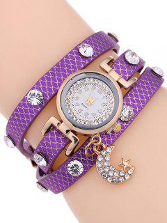 Rhinestone Moon Layered Watch - Purple