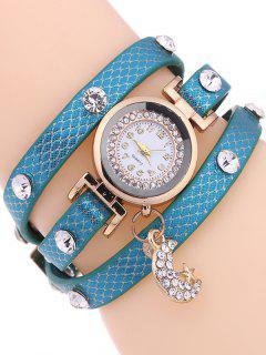 Rhinestone Moon Layered Watch - Light Blue