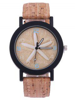 Starfish PU Leather Analog Quartz Watch - Light Brown