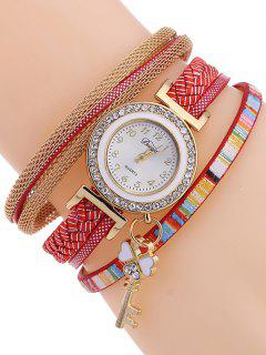 Clover Key Layered Watch - Red