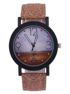 Quartz Watch With Round Dial PU Leather Watchband - Brown