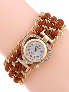 Rhinestone Heart Watch - Red Brown
