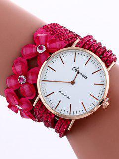 Layered Flower Rhinestone Studded PU Leather Watch - Rose Madder