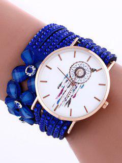 Feather Mesh Layered Flower Rhinestone Studded PU Leather Watch - Sapphire Blue