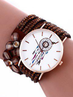 Feather Mesh Layered Flower Rhinestone Studded PU Leather Watch - Brown