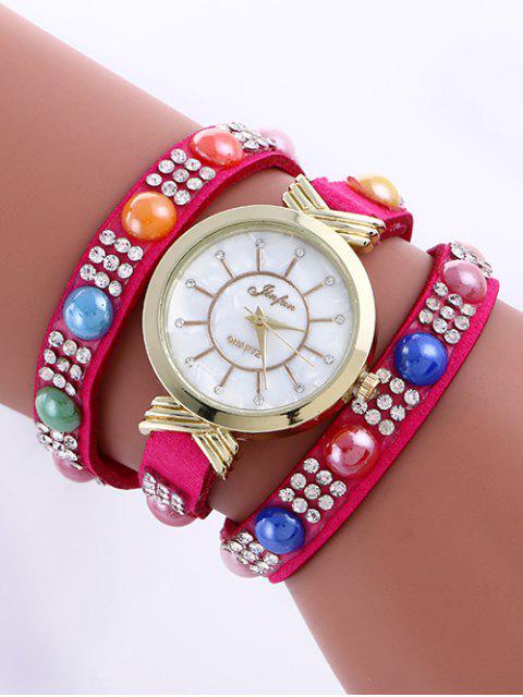 Montre Décor avec Strass Perles - Rose Rouge  Mobile