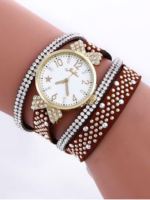 chic Layered Rhinestone Watch - RED BROWN  Mobile