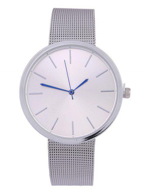 shop Simple Steel Mesh Band Quartz Watch - SILVER  Mobile