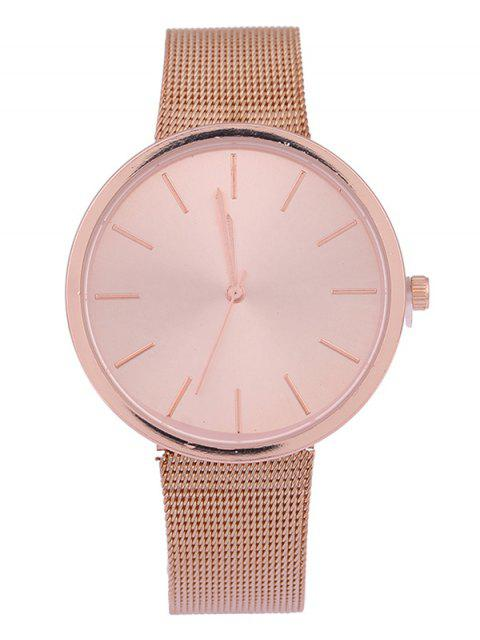 shops Simple Steel Mesh Band Quartz Watch - ROSE GOLD  Mobile