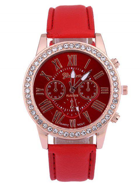 Montre de quartz en cuir faux à chiffres romains avec décoration de diamants aritificieux - Rouge  Mobile