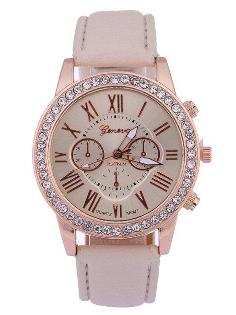 womens Numerals PU Leather Rhinestone Studded Quartz Watch - BEIGE  Mobile