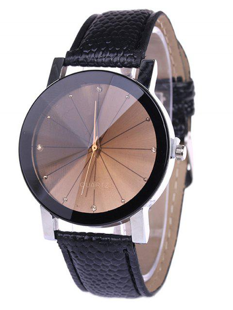 buy Personality Analog PU Leather Watch - BLACK  Mobile