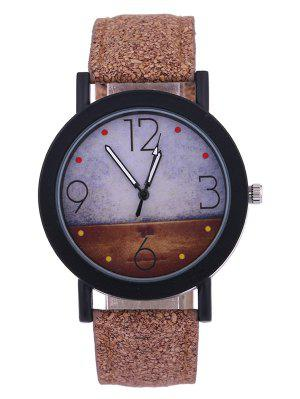 Quartz Watch with Round Dial PU Leather Watchband