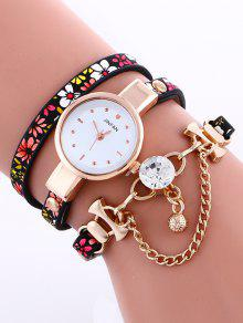 Chain Beaded Layered Watch - Red