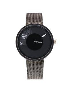 Dial Plate Embellished Digital Analog Watch - Black