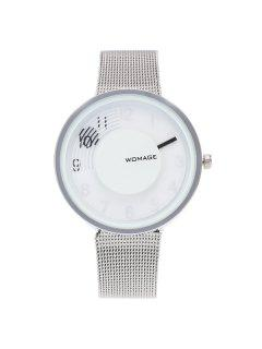 Dial Plate Embellished Digital Analog Watch - White