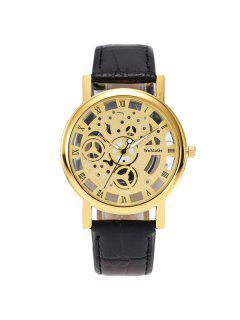 PU Leather Roman Numerals Analog Watch - Golden