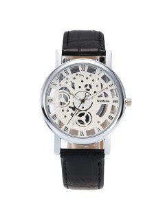 PU Leather Roman Numerals Analog Watch - Silver