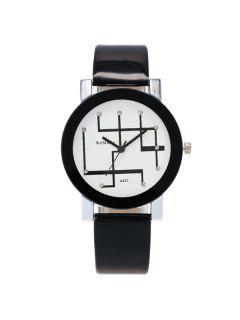 PU Leather Rhinestone Geometric Watch - Black