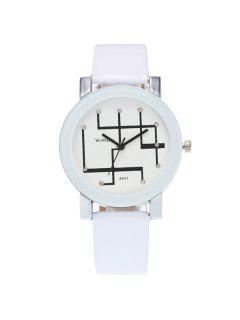 PU Leather Rhinestone Geometric Watch - White