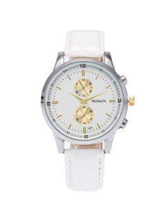 Analog Dial Plate Quartz Watch - White