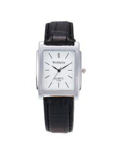 Geometric Dial Plate Quartz Watch - Silver