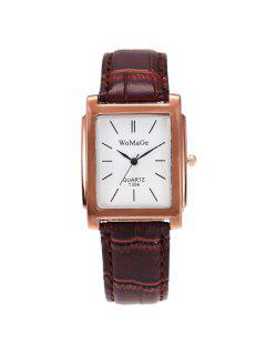 Geometric Dial Plate Quartz Watch - Brown