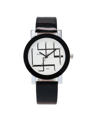 PU Leather Rhinestone Geometric Watch