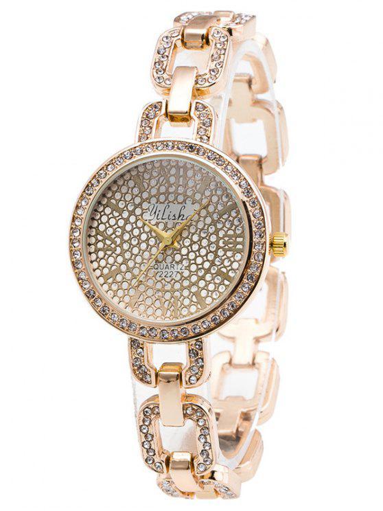 Montre de bracelet en chaîne en alliage décorée de strass - Or