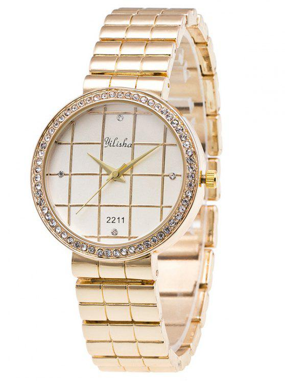 best Rhinestone Geometric Embellished Steel Quartz Watch - WHITE
