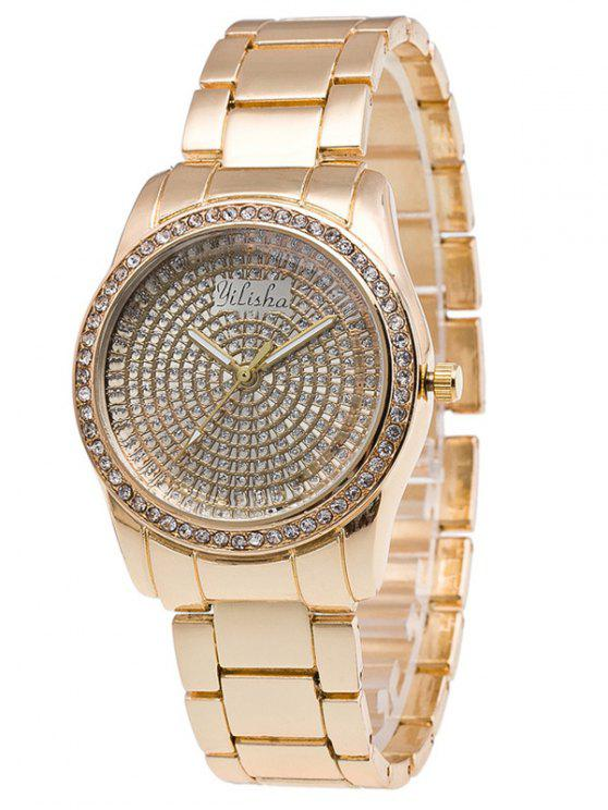 new Dial Plate Rhinestone Steel Quartz Watch - GOLDEN
