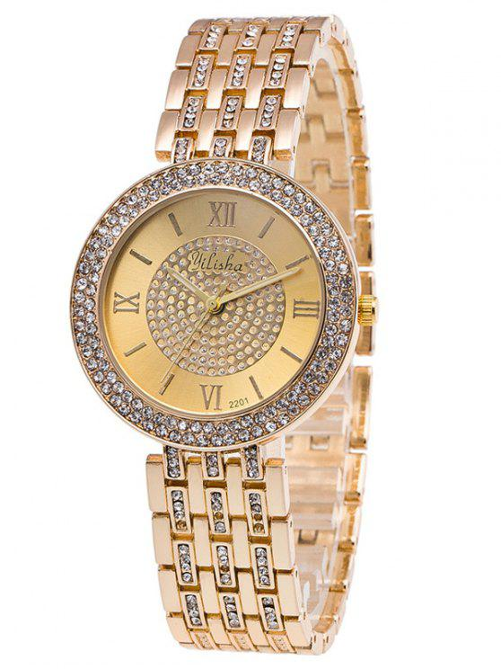 hot Rhinestoned Roman Numerals Adorn Quartz Watch - GOLDEN