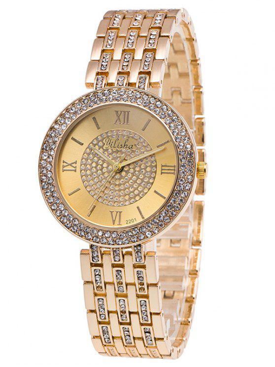 hot Rhinestoned Roman Numerals Adorn Quartz Watch - GOLDEN